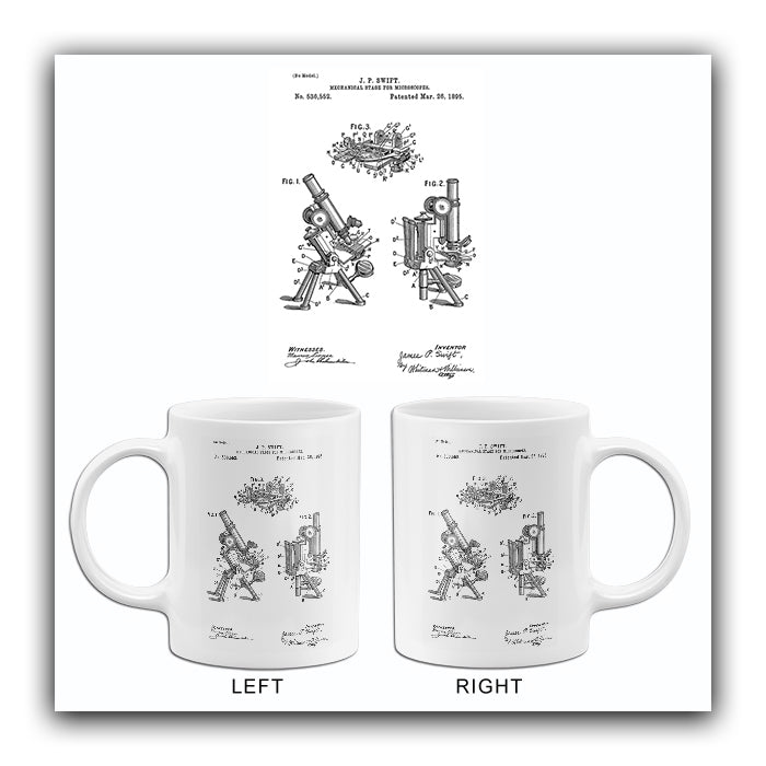 1895 - Mechanical Stage For Microscopes - J. P. Swift - Patent Art Mug