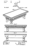 1895 - Billiard Table - B. Bark - Patent Art Poster