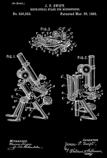 1895 - Mechanical Stage For Microscopes - J. P. Swift - Patent Art Poster