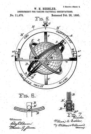 1895 - Nautical Navigation Instrument - W. H. Beehler - Patent Art Poster