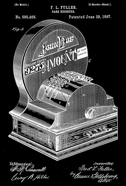 1897 - Cash Register - F L Fuller - Patent Art Poster