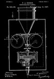 1897 - Kinetographic Camera - Thomas Edison - Patent Art Poster