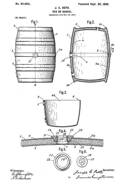 1898 - Keg Or Barrel - Whiskey - J. C. Roth - Patent Art Mug