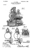 1898 - Headlight for Locomotives - J. H. Sligh - Patent Art Poster