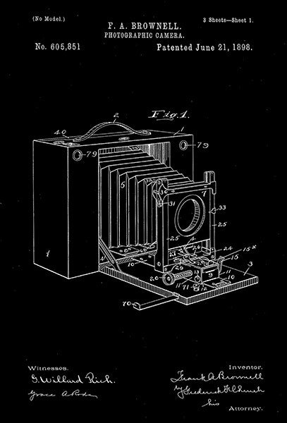 1898 - Photographic Camera - F. A. Brownell - Patent Art Poster