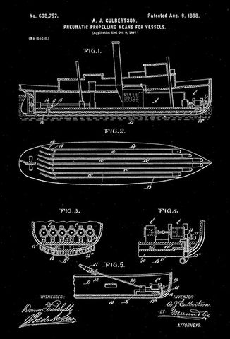 1898 - Pneumatic Propeller for Vessels - A. J. Culbertson - Patent Art Poster