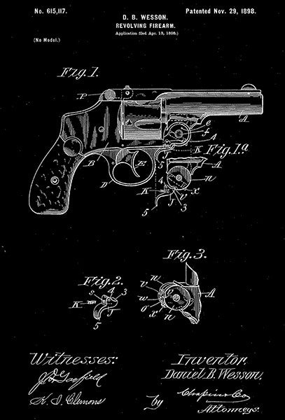 1898 - Revolver Firearm - D. B. Wesson - Patent Art Poster