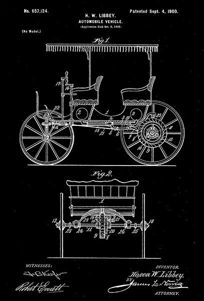1900 - Automobile Vehicle - H. W. Libbey - Patent Art Poster