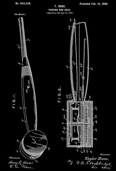 1900 - Fishing Rod Reel - T. Ross - Patent Art Poster