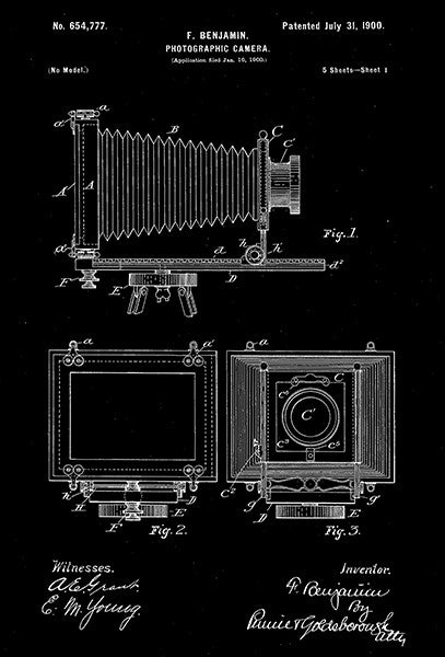1900 - Photographic Camera - F. Benjamin - Patent Art Poster