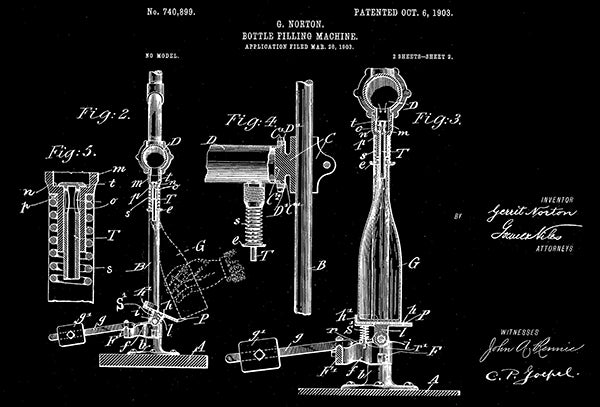 1903 - Bottle Filling Machine #2 - G. Norton - Patent Art Poster