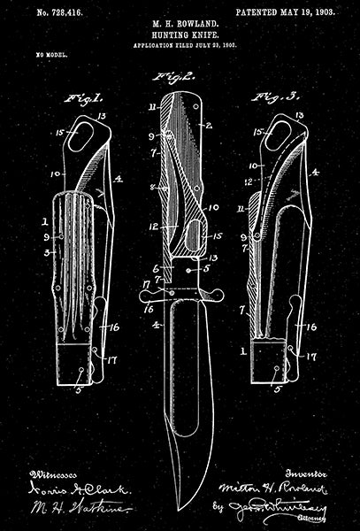 1903 - Hunting Knife - M. H. Rowland - Patent Art Poster
