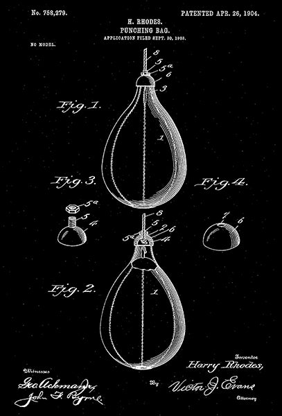 1904 - Punching Bag - H. Rhodes - Patent Art Poster
