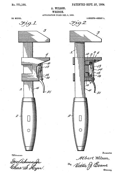 1904 - Wrench - Tools - A. Wilson - Patent Art Poster