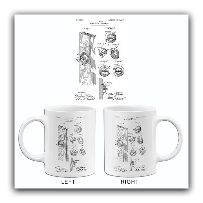 1905 - Spirit Level Attachment - A. J. Perks - Patent Art Mug