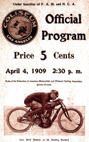 1909 Los Angeles Coliseum Motorcycle Races - Program Cover Poster