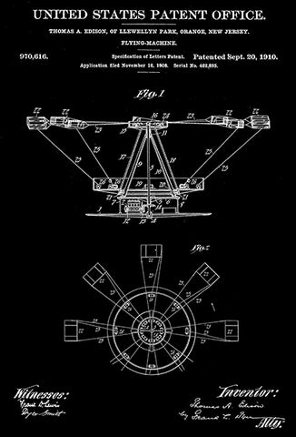 1910 - Flying Machine - Thomas A. Edison - Patent Art Poster