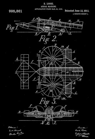 1911 - Aerial Machine - E. Losse - Patent Art Poster