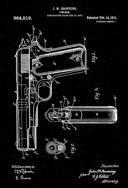 1911 - Firearm - J. M. Browning - Patent Art Poster