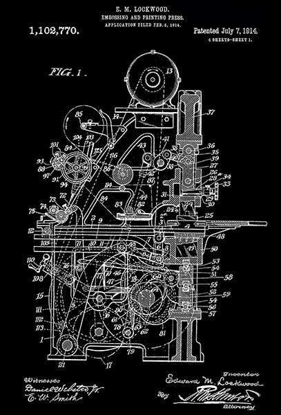 1914 - Embossing and Printing Press - E. M. Lockwood - Patent Art Poster