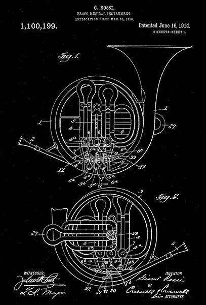 1914 - French Horn - Brass Musical Instrument - G. Rossi - Patent Art Poster