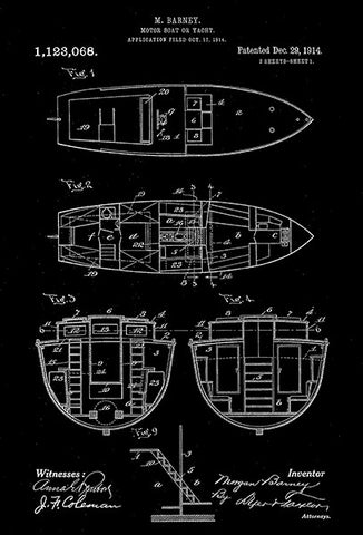1914 - Motor Boat or Yacht - M. Barney - Patent Art Poster