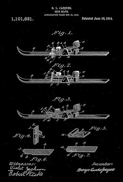 1914 - Skee Skate - G. L. Jacques - Patent Art Poster