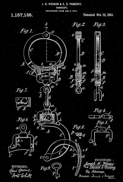 1915 - Handcuffs - Smith And Wesson - Patent Art Poster