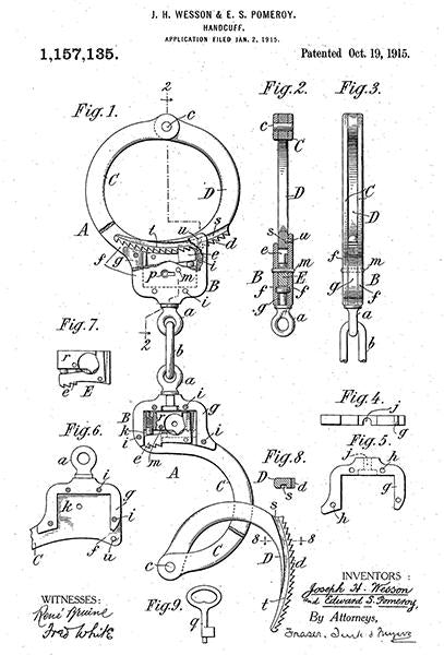 1915 - Handcuffs - Smith And Wesson - Patent Art Mug