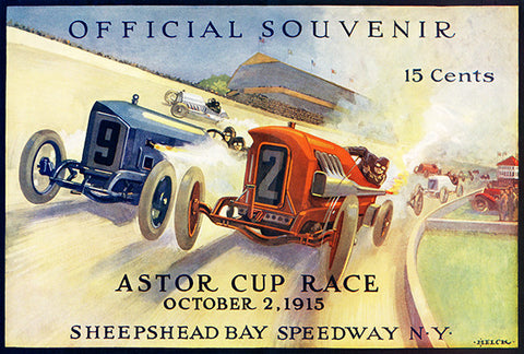 1915 Astor Cup Auto Race - Sheepshead Bay Speedway - NY - Program Cover Poster