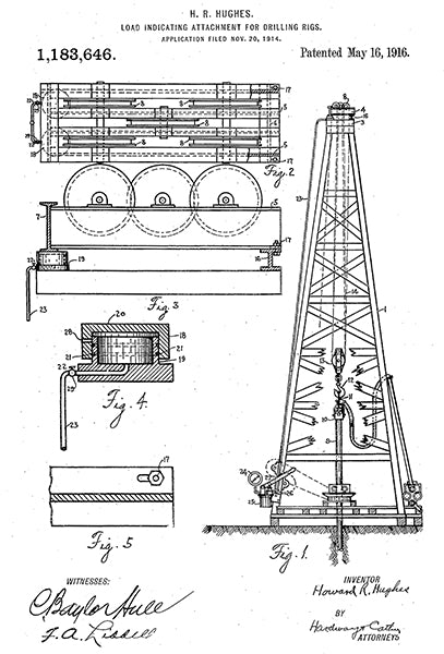 1916 - Drilling Rig - Oil Rig - H. R. Hughes - Patent Art Poster