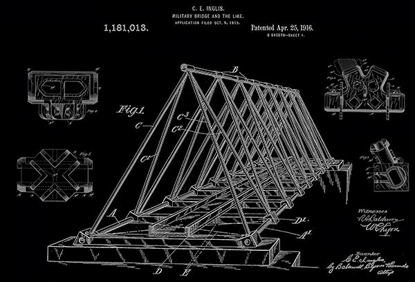 1916 - Military Bridge - C. E. Inglis - Patent Art Poster