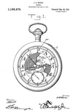 1916 - Pocket Watch - J. A. Meroz - Patent Art Poster