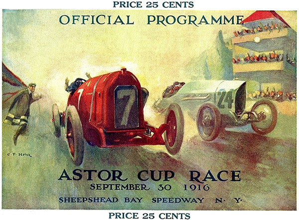 1916 Astor Cup Car Race - Sheepshead Bay Speedway - NY - Program Cover Poster