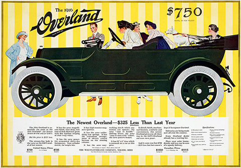 1916 Overland - Promotional Advertising Poster