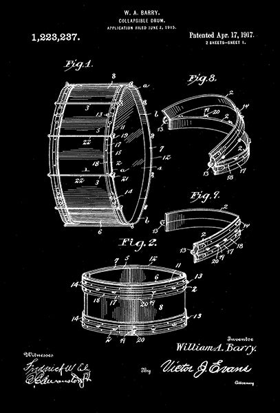 1917 - Collapsible Drum - W. A. Barry - Patent Art Poster
