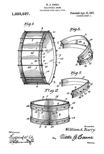 1917 - Collapsible Drum - W. A. Barry - Patent Art Mug