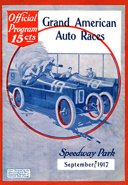 1917 Grand American Auto Races - Speedway Park IL - Program Cover Poster