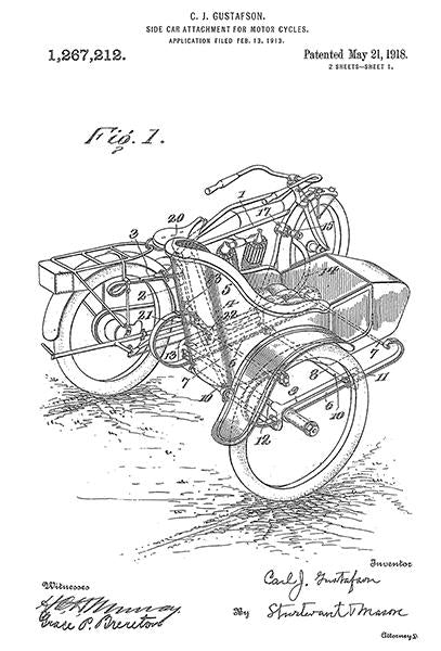 1918 - Side Car Attachment For Motor Cycles - C. J. Gustafson - Patent Art Mug