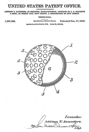 1918 - Tennis Ball - A. T. Saunders - Patent Art Poster