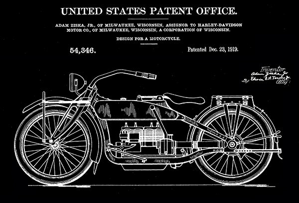 1919 - Harley-Davidson Motorcycle - Designed by A. Ziska Jr. - Patent Art Poster