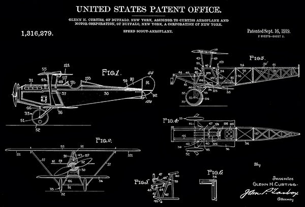 1919 - Speed Scout Aeroplane - G. H. Curtiss - Patent Art Poster