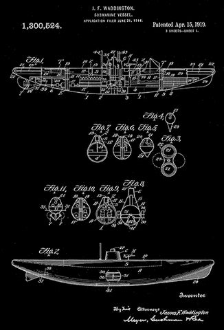 1919 - Submarine Vessel - J. F. Waddington - Patent Art Poster