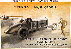 1919 100 Mile Derby Auto Race - Sheepshead Bay Speedway - NY - Program Cover Poster