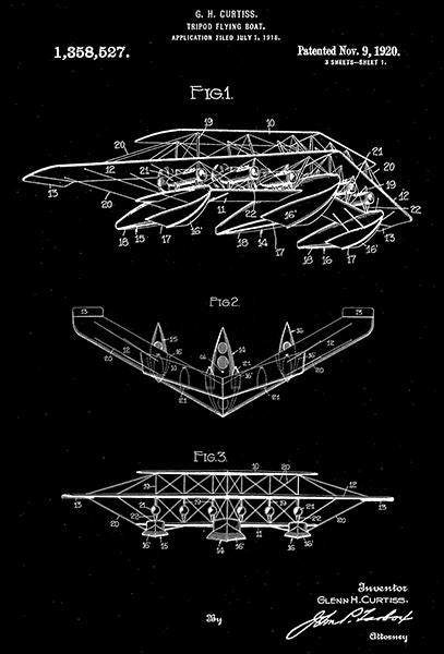 1920 - Tripod Flying Boat - G. H. Curtiss - Patent Art Mug