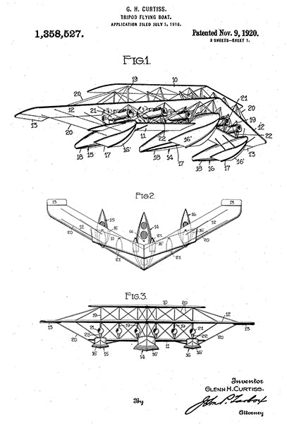 1920 - Tripod Flying Boat - G. H. Curtiss - Patent Art Poster