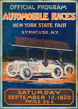 1920 Automobile Races - New York State Fair - Syracuse - Program Cover Poster