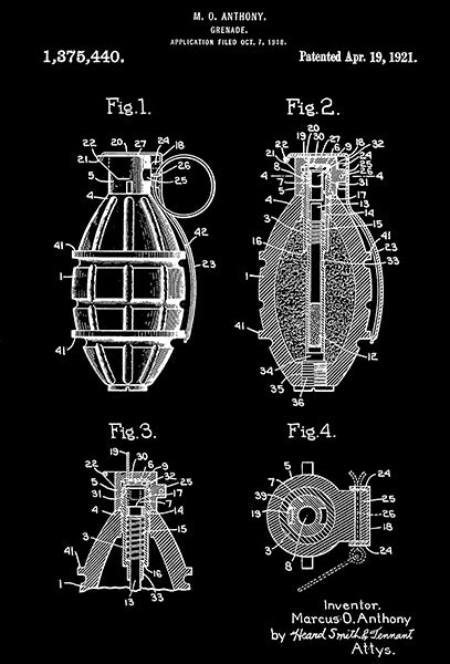 1921 - Grenade - M. O. Anthony - Patent Art Poster