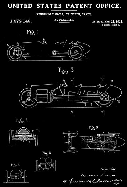 1921 - Lotus Car Race - Automobile - V. Lanca - Patent Art Poster