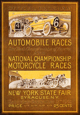 1921 Auto & Motorcycle Races - New York State Fair - Program Cover Poster